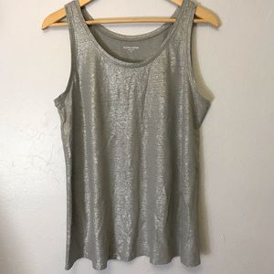 Eileen Fisher U-neck Long Tank Metallic Silver
